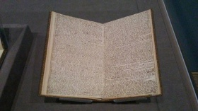 "Branwell's manuscript titled ""Angria and the Angrians"". Look at that teeny tiny writing!"