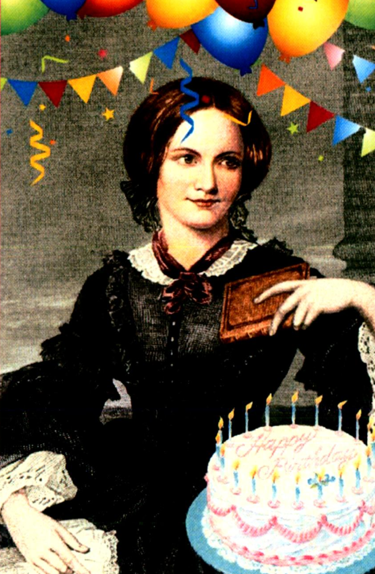 Charlotte Bronte, balloons, cake, birthday